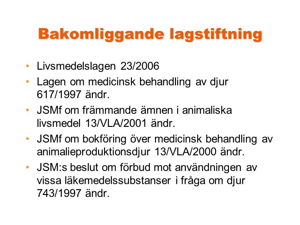 Bakomliggande lagstiftning •Livsmedelslagen 23/2006 •Lagen om medicinsk behandling av djur 617/1997 ändr.