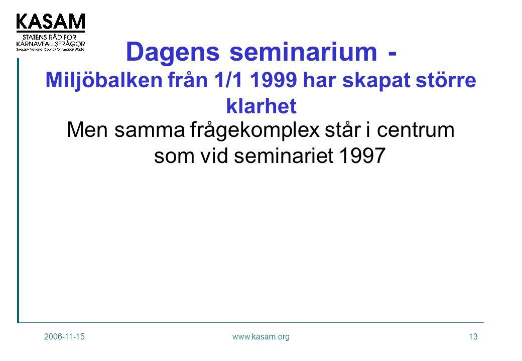 2006-11-15www.kasam.org13 Dagens seminarium - Miljöbalken från 1/1 1999 har skapat större klarhet Men samma frågekomplex står i centrum som vid seminariet 1997