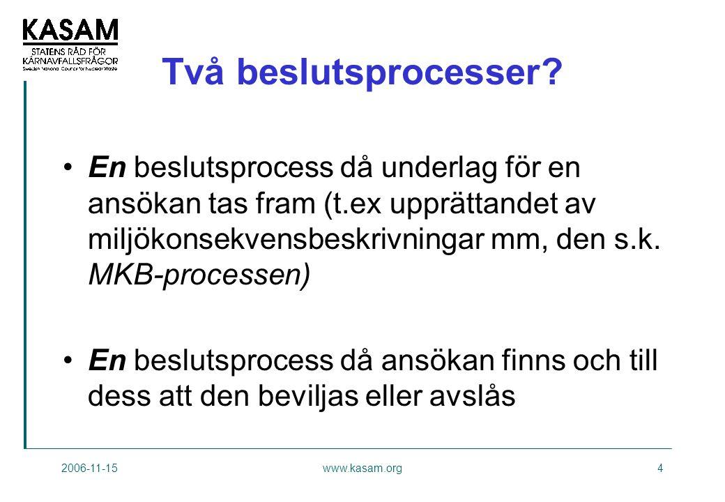 2006-11-15www.kasam.org4 Två beslutsprocesser.