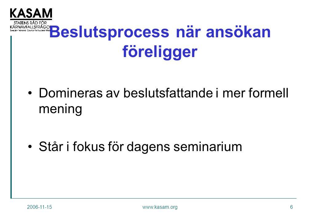 2006-11-15www.kasam.org6 Beslutsprocess när ansökan föreligger •Domineras av beslutsfattande i mer formell mening •Står i fokus för dagens seminarium