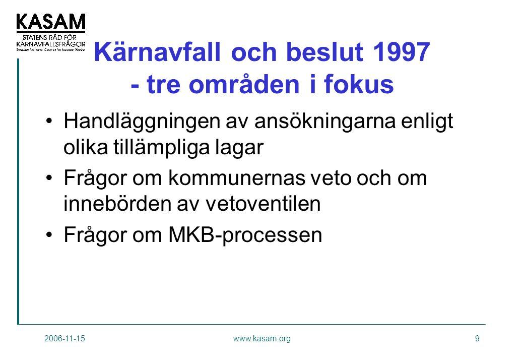 2006-11-15www.kasam.org9 Kärnavfall och beslut 1997 - tre områden i fokus •Handläggningen av ansökningarna enligt olika tillämpliga lagar •Frågor om kommunernas veto och om innebörden av vetoventilen •Frågor om MKB-processen