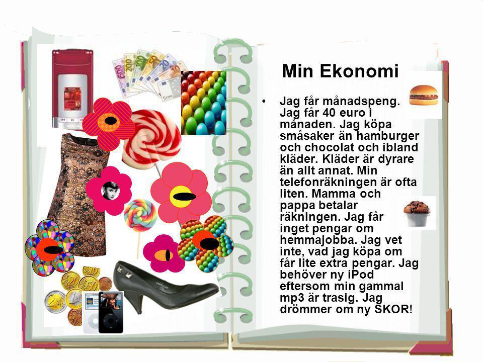 Min Ekonomi •Jag får månadspeng. Jag får 40 euro i månaden. Jag köpa småsaker än hamburger och chocolat och ibland kläder. Kläder är dyrare än allt an