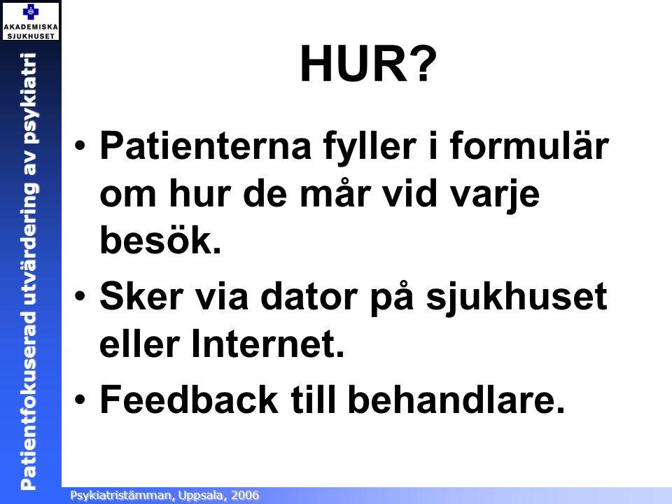 Patientfokuserad utvärdering Ångestsektionen, Akademiska sjukhuset, 2005 Patientfokuserad utvärdering av psykiatri Psykiatristämman, Uppsala, 2006 HUR