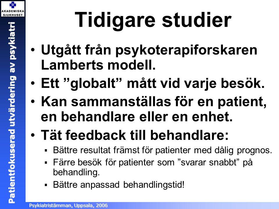 Patientfokuserad utvärdering Ångestsektionen, Akademiska sjukhuset, 2005 Patientfokuserad utvärdering av psykiatri Psykiatristämman, Uppsala, 2006 Tid