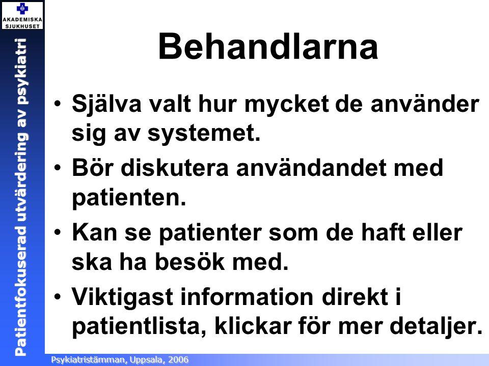 Patientfokuserad utvärdering Ångestsektionen, Akademiska sjukhuset, 2005 Patientfokuserad utvärdering av psykiatri Psykiatristämman, Uppsala, 2006 Beh
