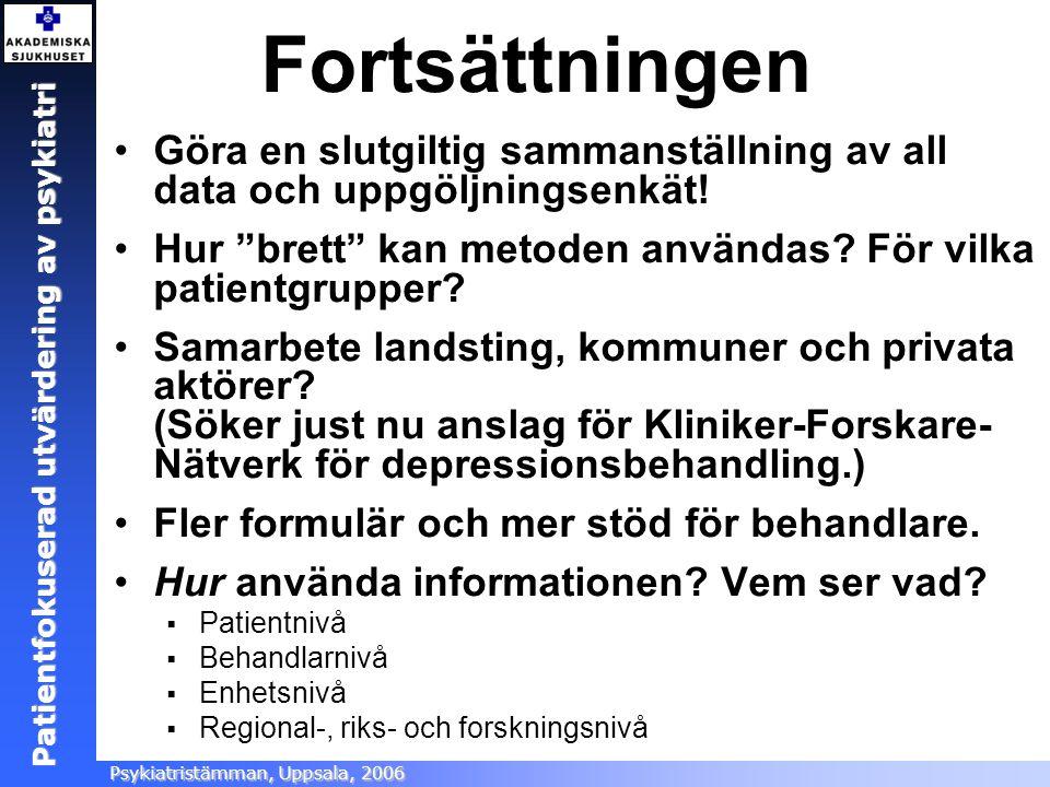 Patientfokuserad utvärdering Ångestsektionen, Akademiska sjukhuset, 2005 Patientfokuserad utvärdering av psykiatri Psykiatristämman, Uppsala, 2006 For