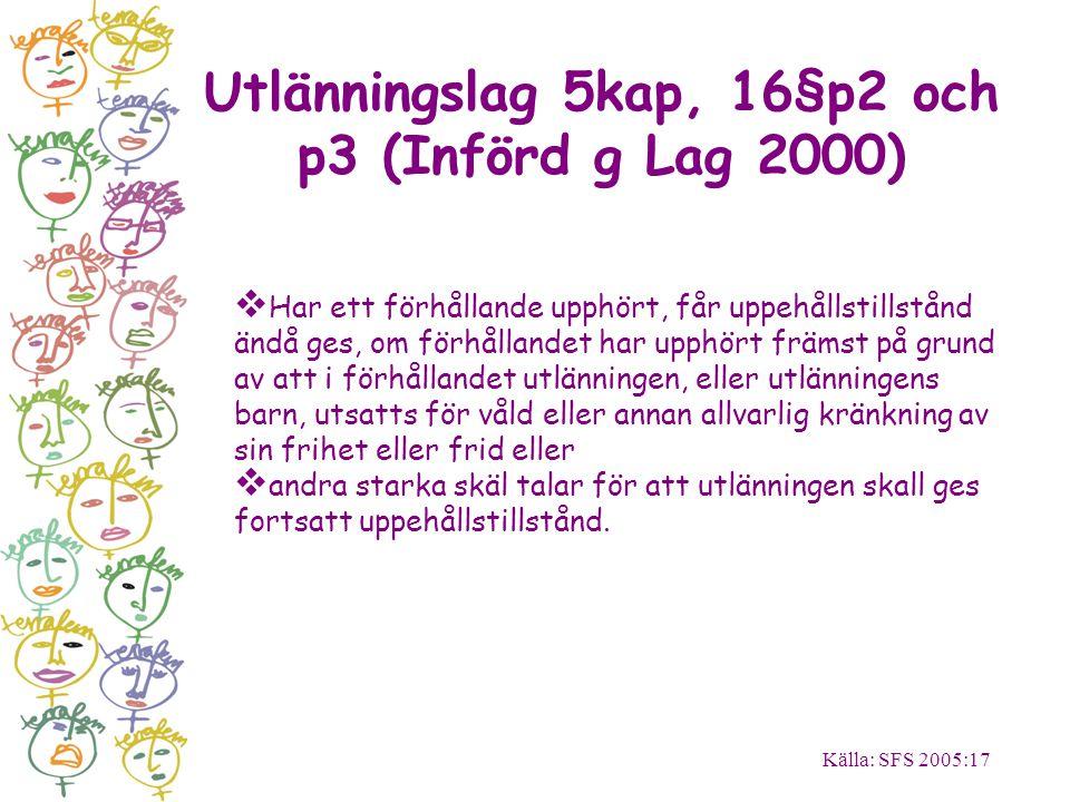 Utlänningslag 5kap, 16§p2 och p3 (Införd g Lag 2000) Källa: SFS 2005:17  Har ett förhållande upphört, får uppehållstillstånd ändå ges, om förhållande