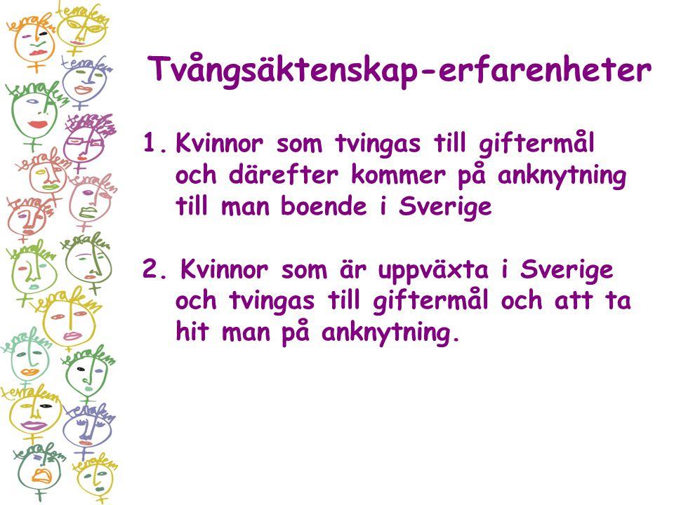 Tvångsäktenskap-erfarenheter 1.Kvinnor som tvingas till giftermål och därefter kommer på anknytning till man boende i Sverige 2. Kvinnor som är uppväx