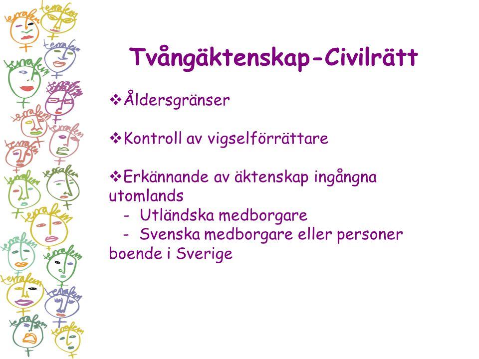 Tvångäktenskap-Civilrätt  Åldersgränser  Kontroll av vigselförrättare  Erkännande av äktenskap ingångna utomlands - Utländska medborgare - Svenska
