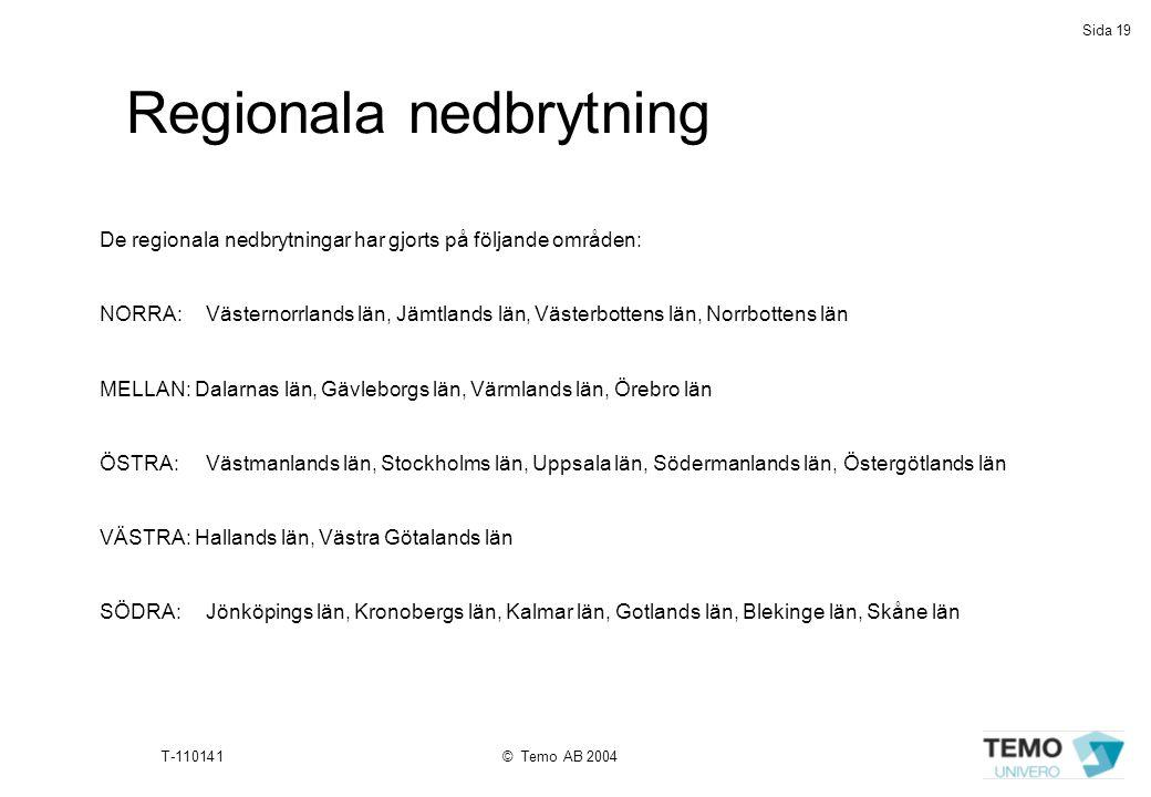 Sida 19 T-110141© Temo AB 2004 Regionala nedbrytning De regionala nedbrytningar har gjorts på följande områden: NORRA: Västernorrlands län, Jämtlands