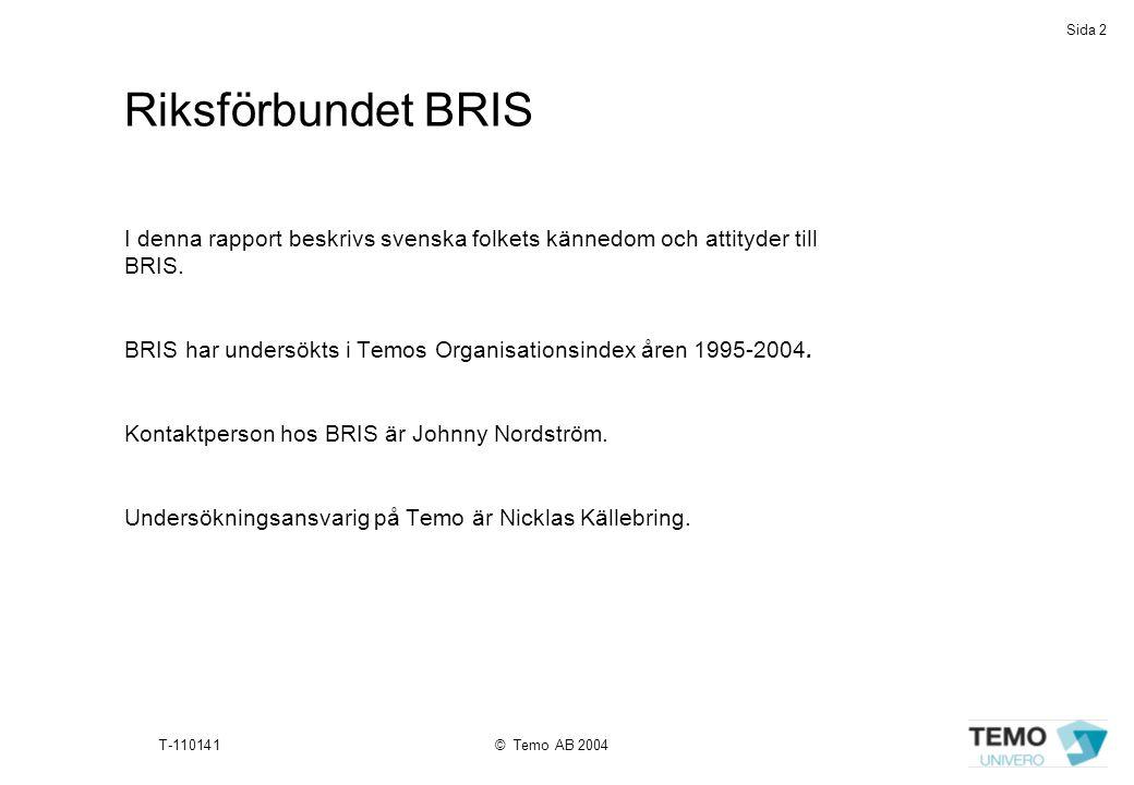 Sida 2 T-110141© Temo AB 2004 Riksförbundet BRIS I denna rapport beskrivs svenska folkets kännedom och attityder till BRIS. BRIS har undersökts i Temo