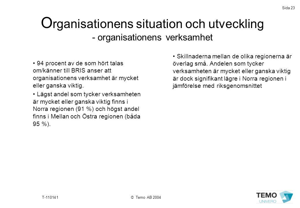 Sida 23 T-110141© Temo AB 2004 O rganisationens situation och utveckling - organisationens verksamhet • 94 procent av de som hört talas om/känner till