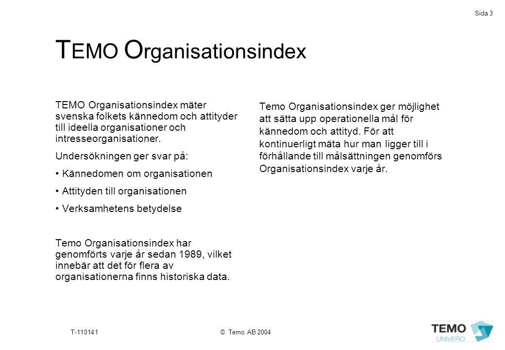 Sida 3 T-110141© Temo AB 2004 T EMO O rganisationsindex TEMO Organisationsindex mäter svenska folkets kännedom och attityder till ideella organisation
