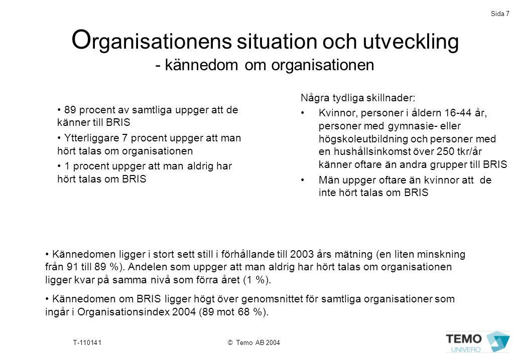 Sida 7 T-110141© Temo AB 2004 O rganisationens situation och utveckling - kännedom om organisationen • 89 procent av samtliga uppger att de känner til