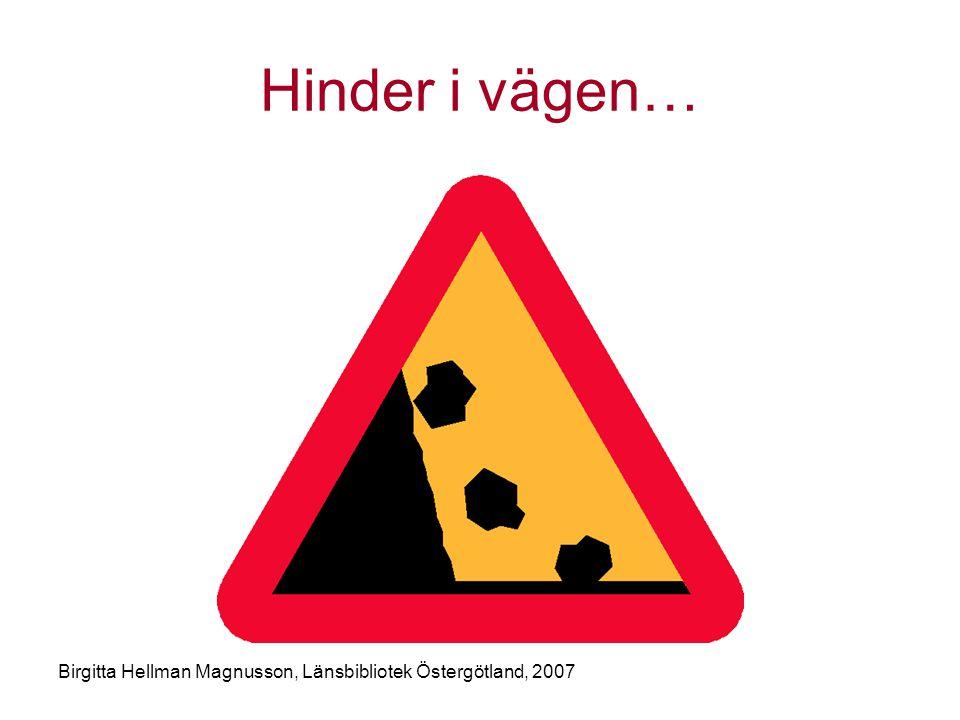 Birgitta Hellman Magnusson, Länsbibliotek Östergötland, 2007 Hinder i vägen…