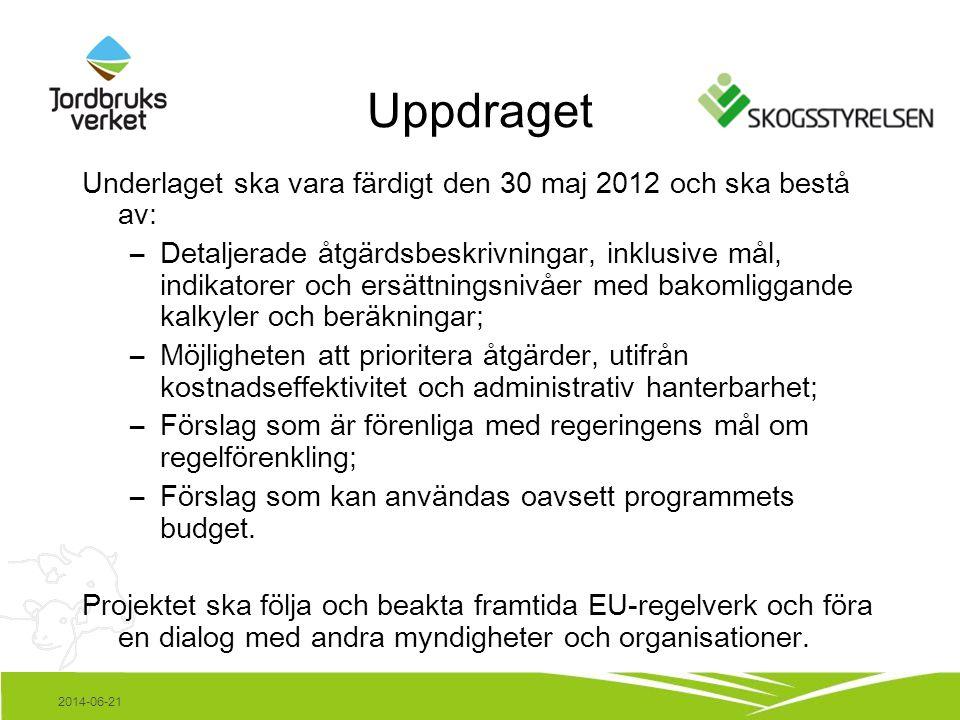 2014-06-21 Underlaget ska vara färdigt den 30 maj 2012 och ska bestå av: –Detaljerade åtgärdsbeskrivningar, inklusive mål, indikatorer och ersättningsnivåer med bakomliggande kalkyler och beräkningar; –Möjligheten att prioritera åtgärder, utifrån kostnadseffektivitet och administrativ hanterbarhet; –Förslag som är förenliga med regeringens mål om regelförenkling; –Förslag som kan användas oavsett programmets budget.
