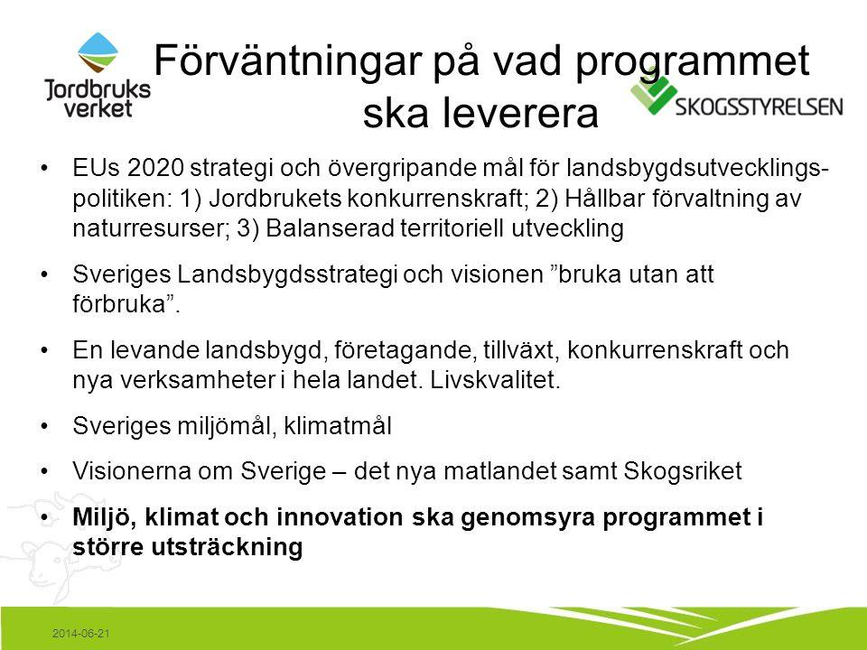 2014-06-21 Förväntningar på vad programmet ska leverera •EUs 2020 strategi och övergripande mål för landsbygdsutvecklings- politiken: 1) Jordbrukets konkurrenskraft; 2) Hållbar förvaltning av naturresurser; 3) Balanserad territoriell utveckling •Sveriges Landsbygdsstrategi och visionen bruka utan att förbruka .