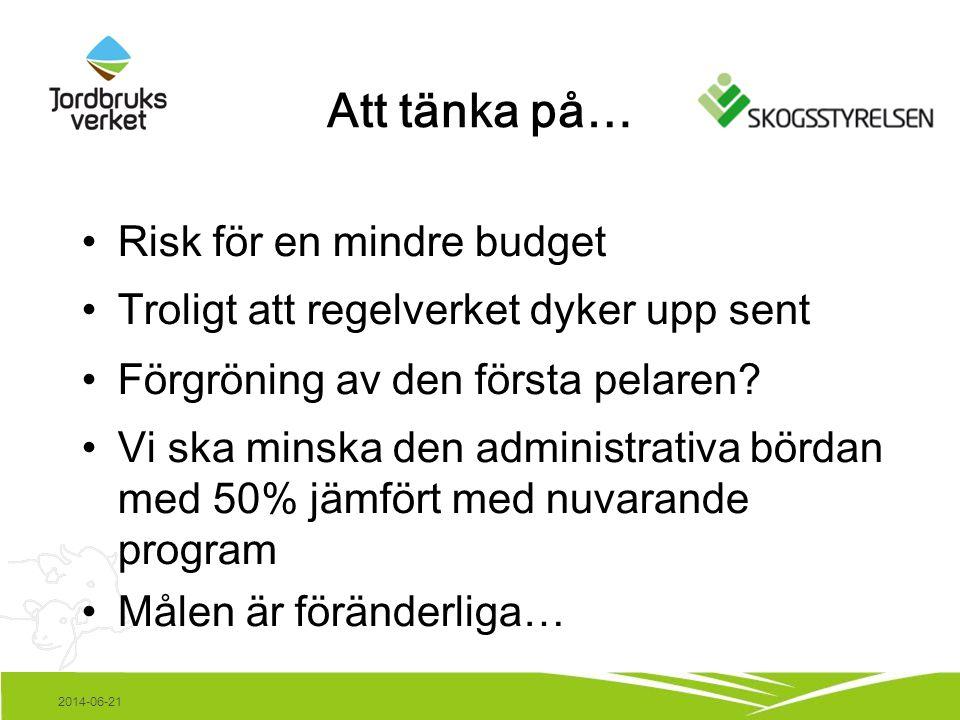 2014-06-21 Att tänka på… •Risk för en mindre budget •Troligt att regelverket dyker upp sent •Förgröning av den första pelaren.