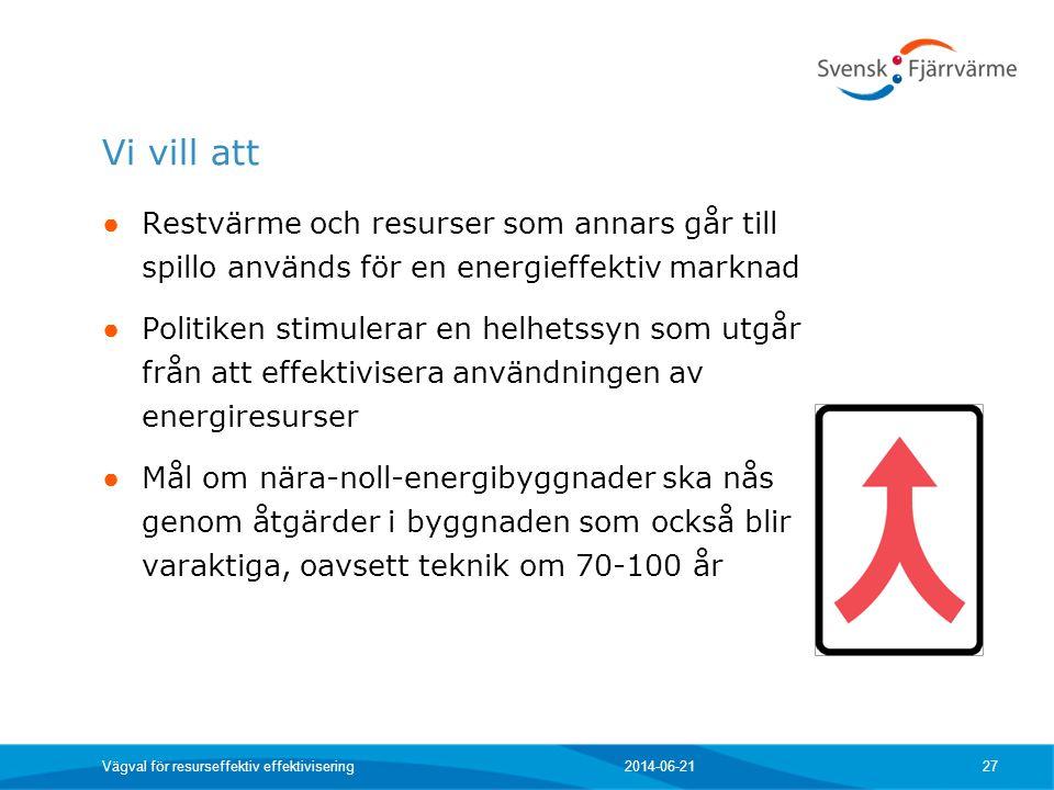 Vi vill att ● Restvärme och resurser som annars går till spillo används för en energieffektiv marknad ● Politiken stimulerar en helhetssyn som utgår f