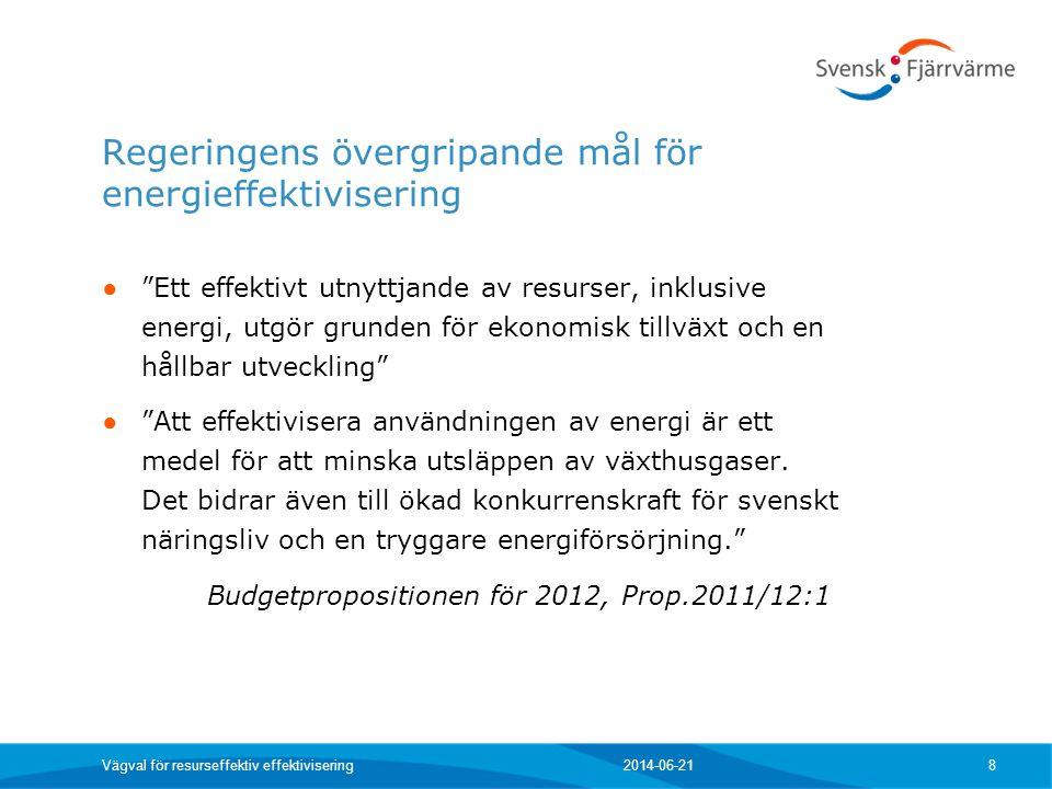 """Regeringens övergripande mål för energieffektivisering ● """"Ett effektivt utnyttjande av resurser, inklusive energi, utgör grunden för ekonomisk tillväx"""