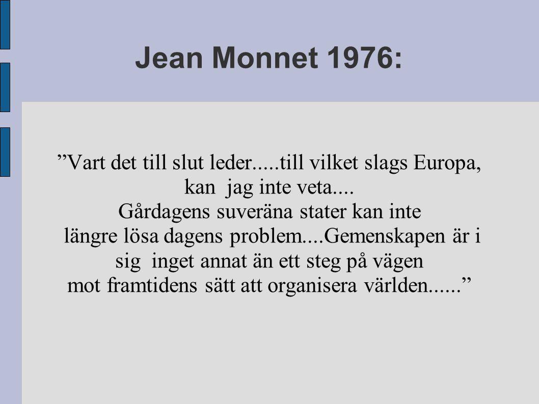 Jean Monnet 1976: Vart det till slut leder.....till vilket slags Europa, kan jag inte veta....