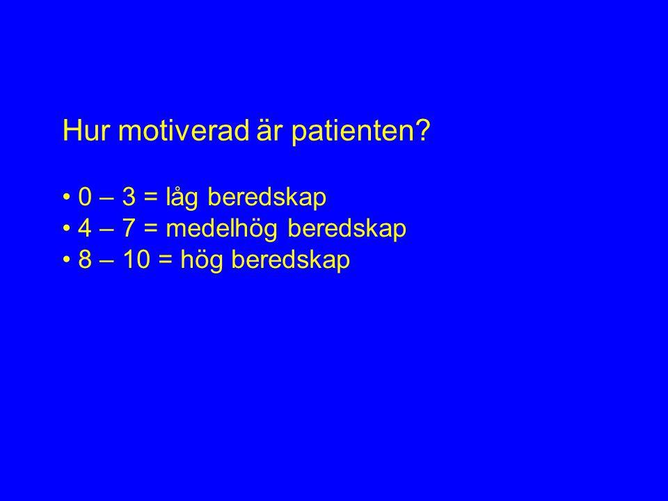 Hur motiverad är patienten.