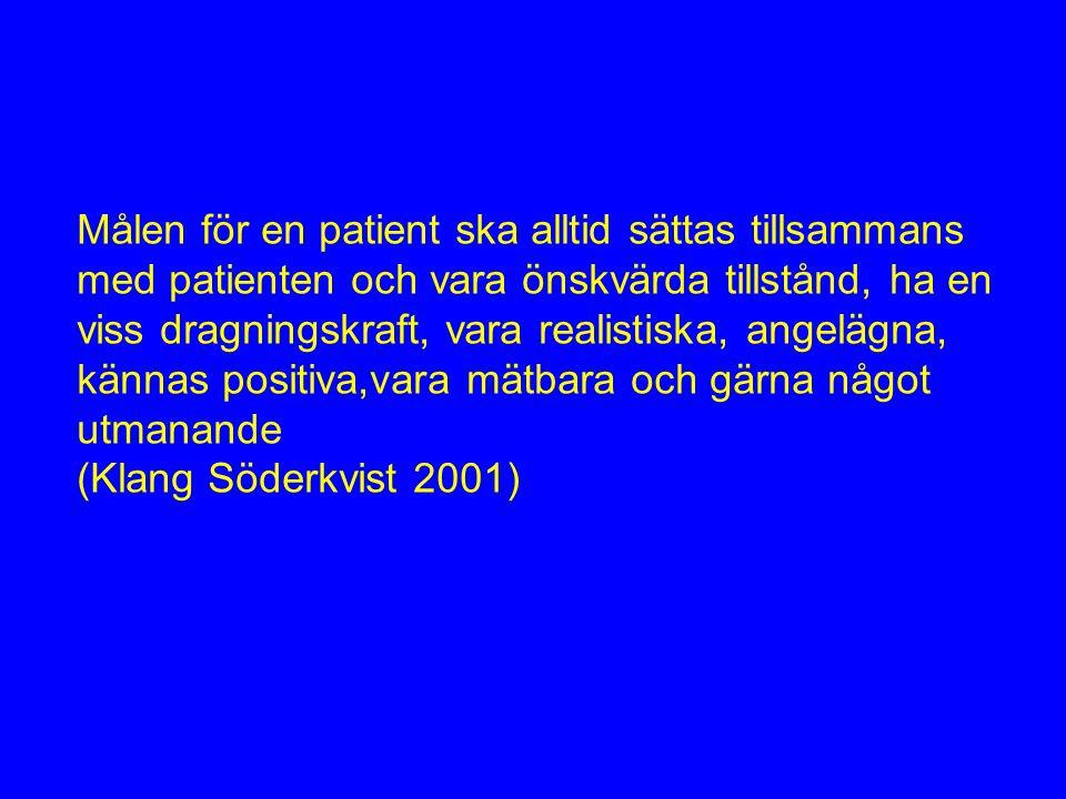 Målen för en patient ska alltid sättas tillsammans med patienten och vara önskvärda tillstånd, ha en viss dragningskraft, vara realistiska, angelägna, kännas positiva,vara mätbara och gärna något utmanande (Klang Söderkvist 2001)