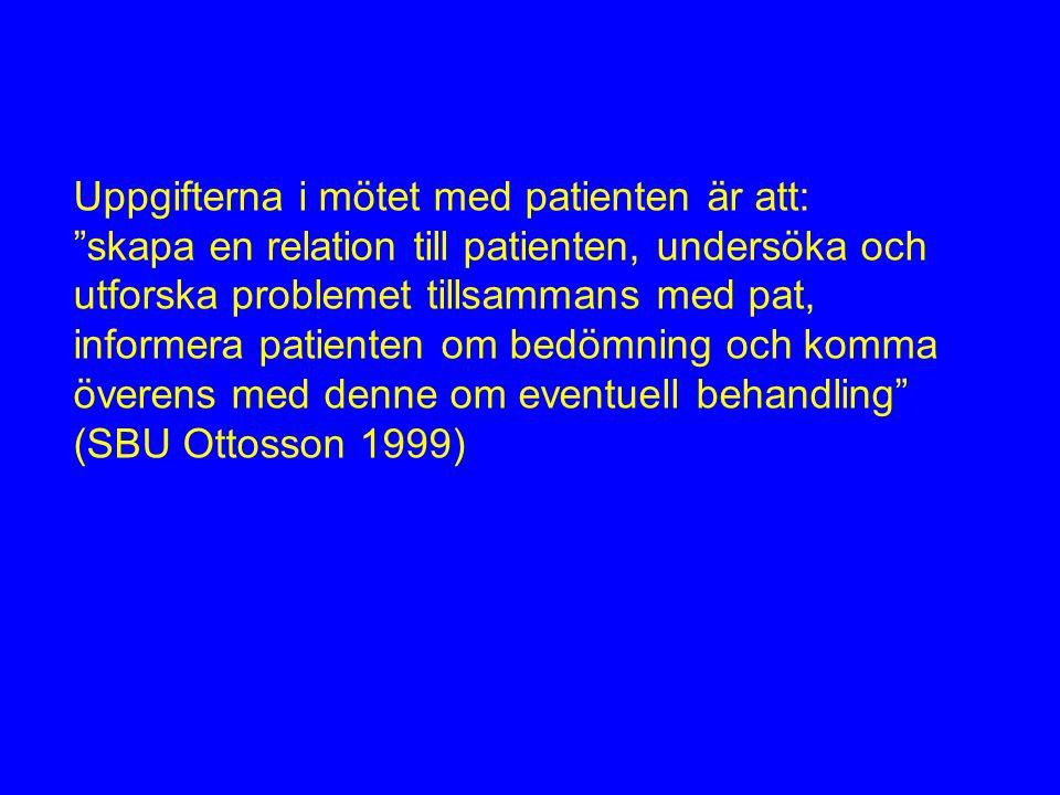 Uppgifterna i mötet med patienten är att: skapa en relation till patienten, undersöka och utforska problemet tillsammans med pat, informera patienten om bedömning och komma överens med denne om eventuell behandling (SBU Ottosson 1999)