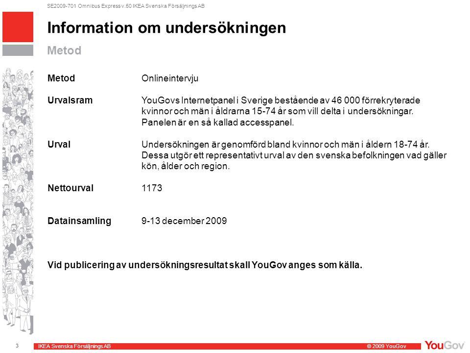IKEA Svenska Försäljnings AB© 2009 YouGov 3 SE2009-701 Omnibus Express v.50 IKEA Svenska Försäljnings AB Information om undersökningen Metod MetodOnli