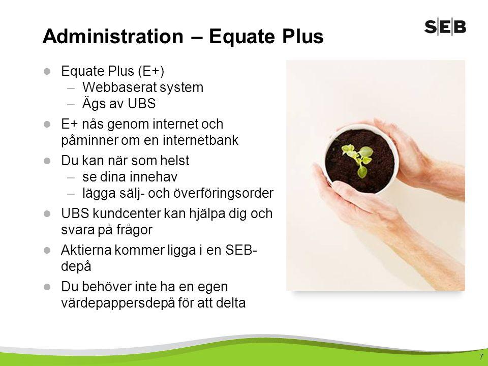 7  Equate Plus (E+) –Webbaserat system –Ägs av UBS  E+ nås genom internet och påminner om en internetbank  Du kan när som helst –se dina innehav –l