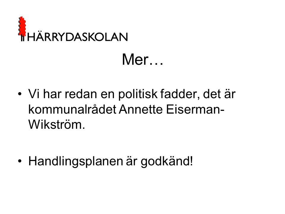 Mer… •Vi har redan en politisk fadder, det är kommunalrådet Annette Eiserman- Wikström. •Handlingsplanen är godkänd!