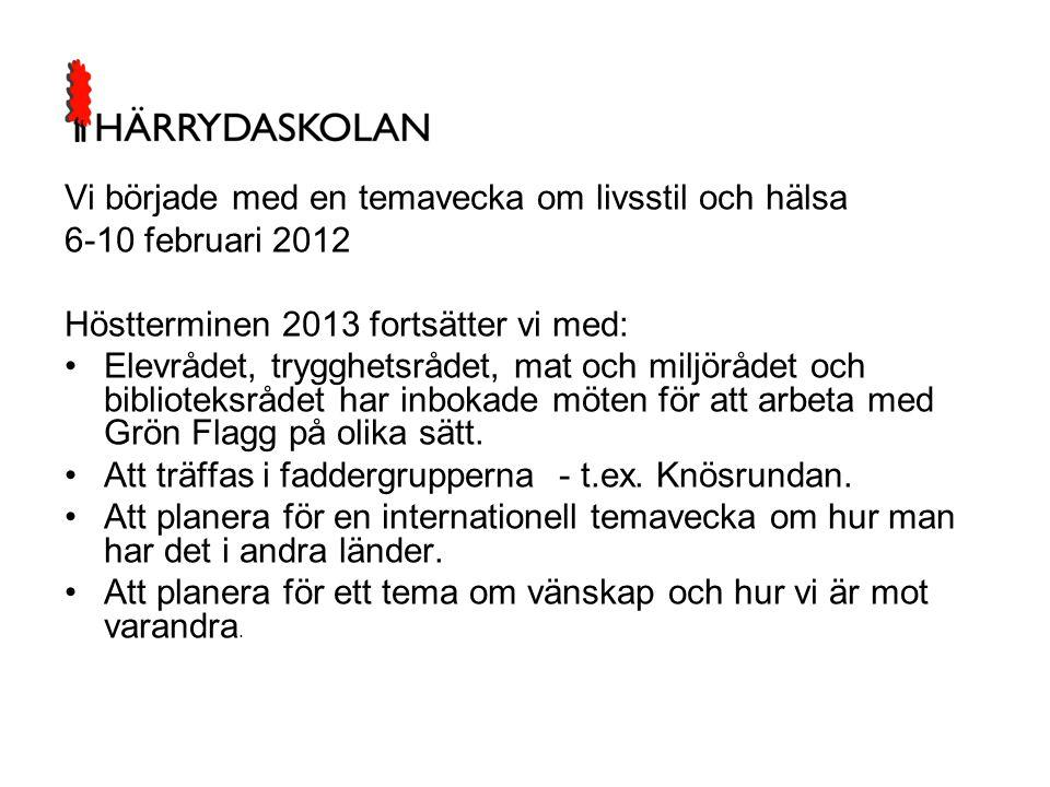 Vi började med en temavecka om livsstil och hälsa 6-10 februari 2012 Höstterminen 2013 fortsätter vi med: •Elevrådet, trygghetsrådet, mat och miljöråd