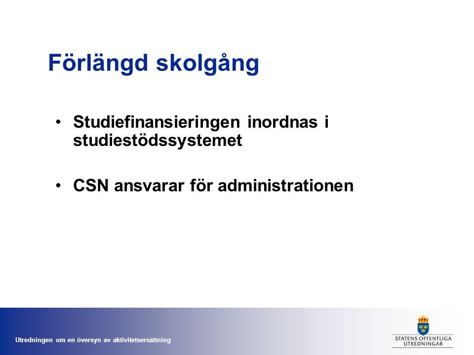 Utredningen om en översyn av aktivitetsersättning Förlängd skolgång •Studiefinansieringen inordnas i studiestödssystemet •CSN ansvarar för administrat