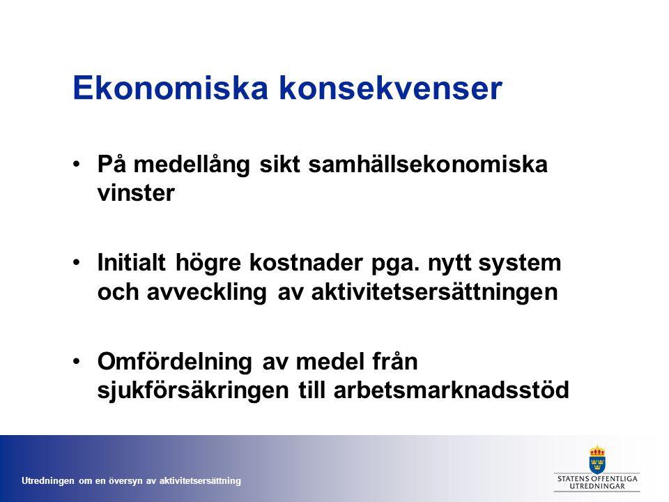 Utredningen om en översyn av aktivitetsersättning Ekonomiska konsekvenser •På medellång sikt samhällsekonomiska vinster •Initialt högre kostnader pga.