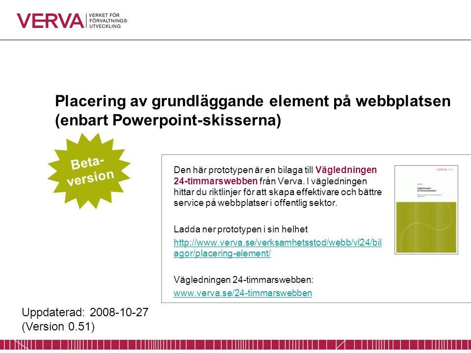 Placering av grundläggande element på webbplatsen (enbart Powerpoint-skisserna) Den här prototypen är en bilaga till Vägledningen 24-timmarswebben från Verva.