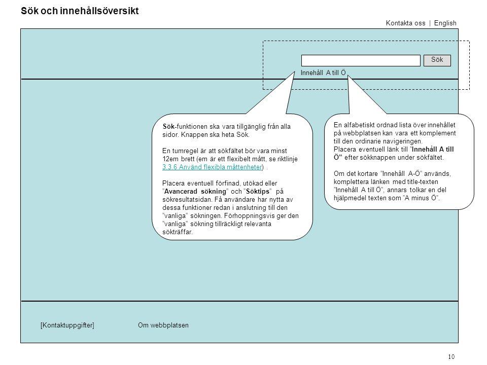 Innehåll A till Ö Sök [Kontaktuppgifter]Om webbplatsen [Navigation och Innehåll] En alfabetiskt ordnad lista över innehållet på webbplatsen kan vara ett komplement till den ordinarie navigeringen.