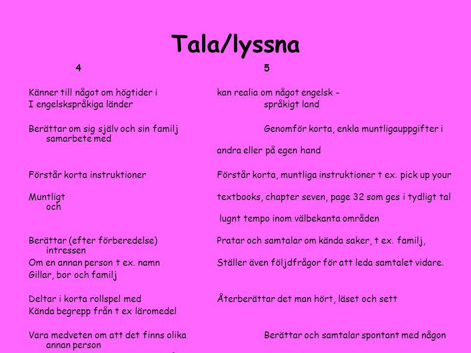 Tala/lyssna 45 Känner till något om högtider ikan realia om något engelsk - I engelskspråkiga länderspråkigt land Berättar om sig själv och sin familj