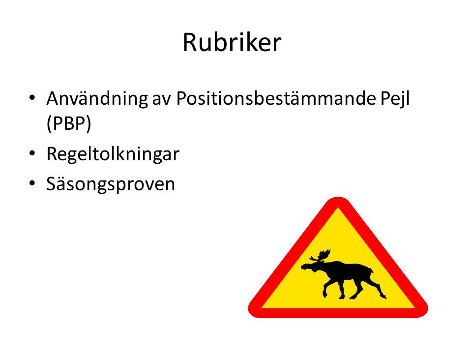 Rubriker • Användning av Positionsbestämmande Pejl (PBP) • Regeltolkningar • Säsongsproven