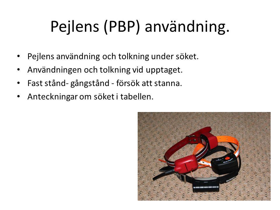 Pejlens (PBP) användning. • Pejlens användning och tolkning under söket.