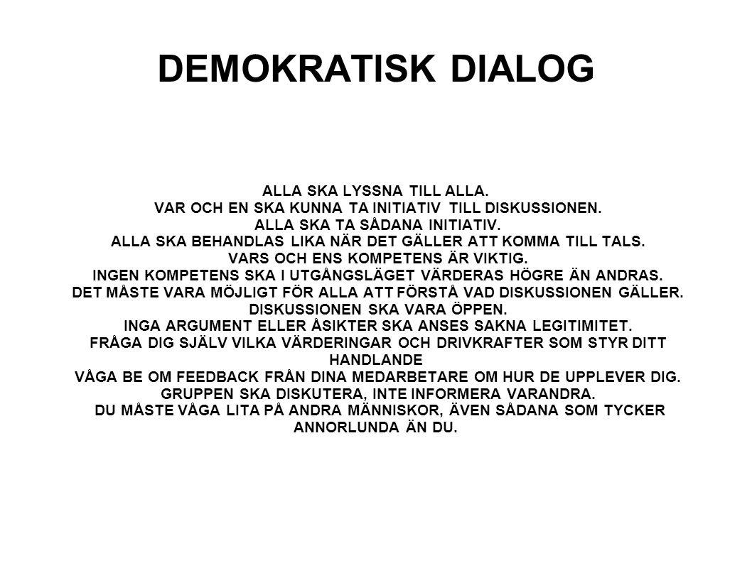 DEMOKRATISK DIALOG ALLA SKA LYSSNA TILL ALLA.VAR OCH EN SKA KUNNA TA INITIATIV TILL DISKUSSIONEN.