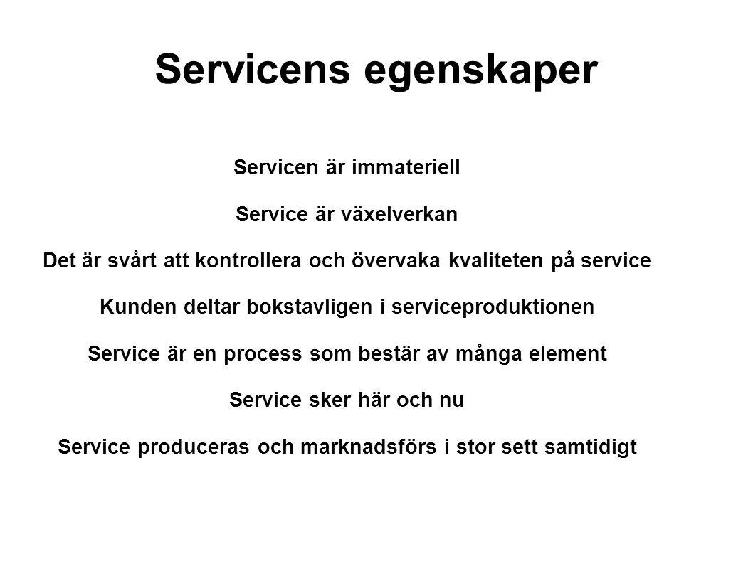 Servicens egenskaper Servicen är immateriell Service är växelverkan Det är svårt att kontrollera och övervaka kvaliteten på service Kunden deltar bokstavligen i serviceproduktionen Service är en process som bestär av många element Service sker här och nu Service produceras och marknadsförs i stor sett samtidigt