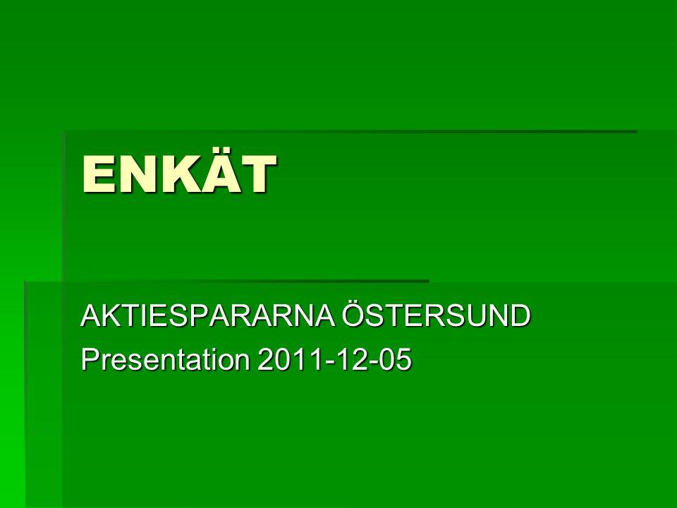 Bakgrund och Syfte  Enkäten har vänt sig till alla medlemmar i föreningen Aktiespararna Östersund.