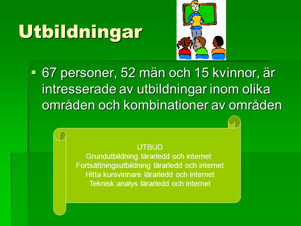 Utbildningar  67 personer, 52 män och 15 kvinnor, är intresserade av utbildningar inom olika områden och kombinationer av områden UTBUD Grundutbildni