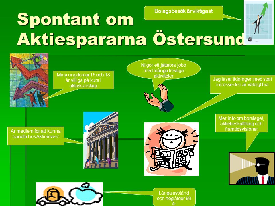 Spontant om Aktiespararna Östersund Ni gör ett jättebra jobb med många trevliga aktiviteter Bolagsbesök är viktigast Mina ungdomar 16 och 18 år vill g