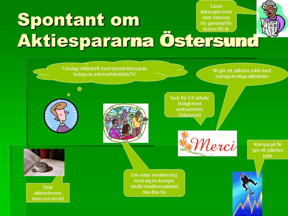 Spontant om Aktiespararna Östersund Ni gör ett jättebra jobb med många trevliga aktiviteter Förslag: Aktieträff med stora/intressanta bolag via intern