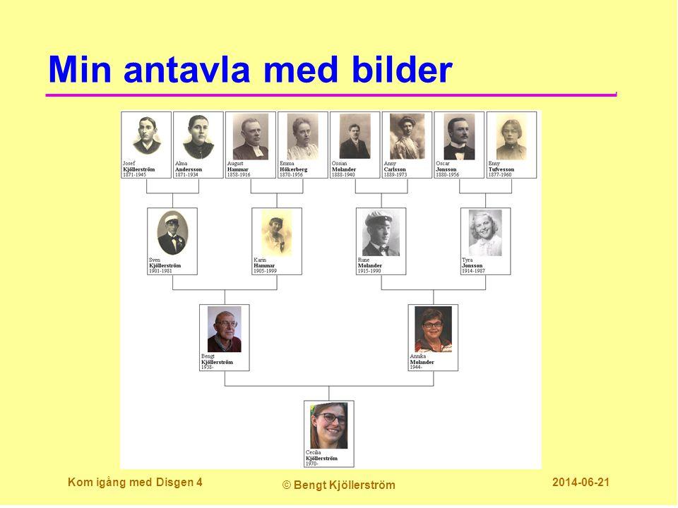 Min antavla med bilder Kom igång med Disgen 4 © Bengt Kjöllerström 2014-06-21