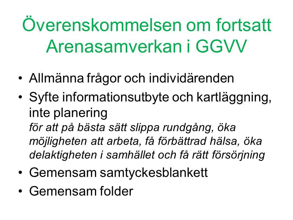 Överenskommelsen om fortsatt Arenasamverkan i GGVV •Allmänna frågor och individärenden •Syfte informationsutbyte och kartläggning, inte planering för