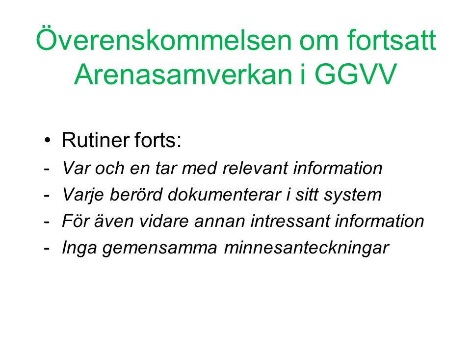 Överenskommelsen om fortsatt Arenasamverkan i GGVV •Rutiner forts: -Var och en tar med relevant information -Varje berörd dokumenterar i sitt system -
