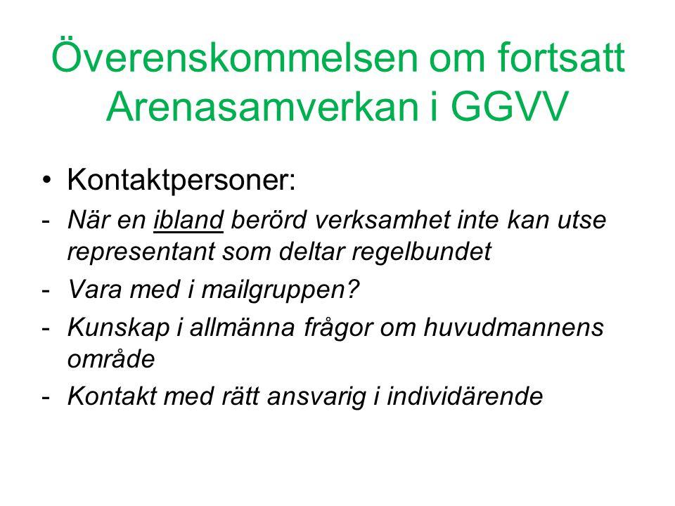 Överenskommelsen om fortsatt Arenasamverkan i GGVV •Kontaktpersoner: -När en ibland berörd verksamhet inte kan utse representant som deltar regelbunde