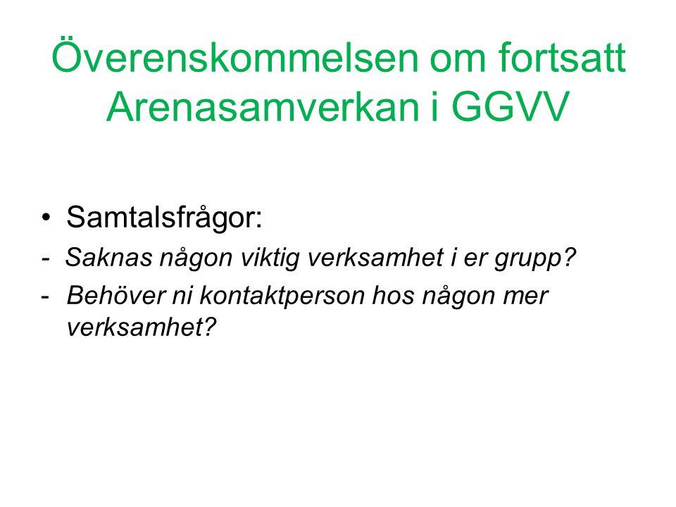 Överenskommelsen om fortsatt Arenasamverkan i GGVV •Samtalsfrågor: - Saknas någon viktig verksamhet i er grupp? -Behöver ni kontaktperson hos någon me